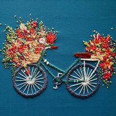 Bicycle Embroidery Flowers Bicycle Art Velo Series TrueFort Walker Boyes