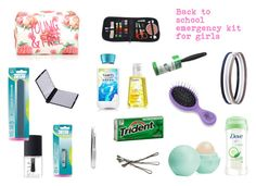 back to school emergency kit for girls by mathmatics on Polyvore featuring beauty, Tweezerman, Eos, NARS Cosmetics, Forever 21, Charlotte Russe and BOBBY