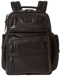 $675, Black Leather Backpack: Tumi Alpha 2 T Pass Business Class Leather Brief Pack. Sold by Zappos. Click for more info: https://lookastic.com/men/shop_items/143084/redirect