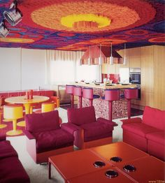 "https://flic.kr/p/98DCvW | Kunstoffhaus FG2000 04 | Kunstoffhaus FG 2000 Design by Wolfgang Feierbach in 1968 scan from ""Prefab Houses"" Taschen book   Kitchen with bar, dining and living area view  Dining Table FG2002 with assorted FG chairs and FG Bar chairs Four FG side table with particular ""build in light beams""  to enhance the ceiling !!!  Easy chair system FG2001, design by Dieter rams www.feierbach.com/02moebelE.html"