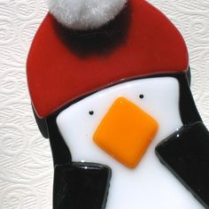 Penguin Christmas Ornament, holiday, winter, fused glass, black, white and red. $14.00, via Etsy.