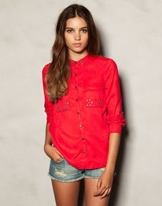 MILITARY SHIRT WITH STUDS - NEW PRODUCTS - WOMAN - Romania