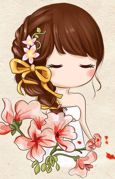 meninas com flores Cartoon Kunst, Cartoon Art, Cute Images, Cute Pictures, Cute Cartoon Girl, Girly Drawings, Chibi Girl, Cute Chibi, Cute Cartoon Wallpapers