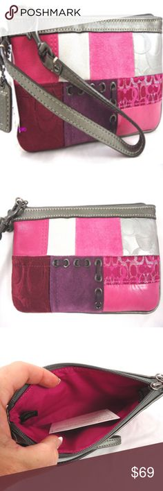 """NEW COACH PATCHWORK WRISTLET POUCH PINK PURPLE BAG COACH  ~ New, still has plastic tie   Signature  Patchwork Wristlet  Beautiful Signature """"Coach"""" Fabric Mix   Premium Dyed Leather in Dark Pink and Metallic Silver Leather Other fibers are Patent Leather, Lurex Signature C fabric, embossed Suede  Trim is Gunmetal Leather Top closing zipper, tonal zipper Interior lined Water & Stain resistant treated fabric Antiqued Nickel Hardware Hang Tag embossed with """"Coach"""" Approximate measurements: 4""""…"""