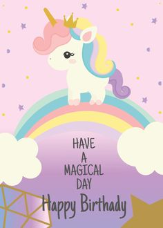 Unicorn Inspired Clothing, Fashion Trends, Accessories, Party Supplies, Gift Items And More Affiliate Kids Happy Birthday Images, Happy Birthday Disney, Birthday Wishes For Kids, Unicorn Birthday Cards, Happy Belated Birthday, Happy Birthday Messages, Happy Birthday Baby Girl, Birthday Greetings Quotes, Birthday Thank You Quotes