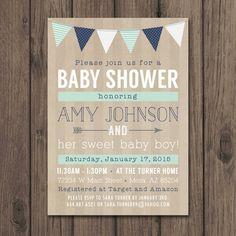BABY BOY ducha invitación invitaciones de la por kimberlyjdesign