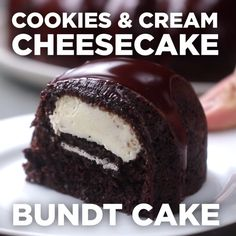Cookies And Cream Cheesecake Bundt Cake. Shared by Career Path DesignCookies And Cream Cheesecake Bundt Cake Take out oreos, use monk fruit to replace sugar, Lilly's chocolate chips, keto chocolate cake recipe instead of box.What a great way to ruin Easy Desserts, Delicious Desserts, Yummy Food, Baking Recipes, Cake Recipes, Dessert Recipes, Cocoa Recipes, Salad Recipes, Cookies And Cream Cheesecake