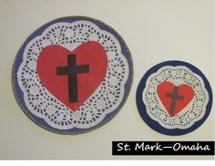 Sunday school craft - a simple Luther's seal craft using a doily for the white rose part. Kids can add a ring of gold glitter around the outer edge of the circle. Sunday School Projects, Sunday School Lessons, School Ideas, Reformation Sunday, Seal Craft, Craft Paint, Martin Luther Reformation, Luther Rose, Christian Crafts