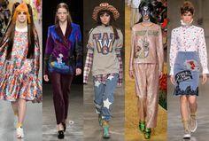 cartoon chic: (L-R): Ryan Lo, Mary Katrantzou, House of Holland, Ashish, and Fashion East. Photos: Imaxtree