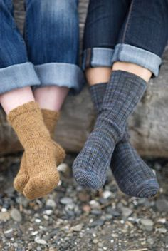 """Basic Sock (in 2 gauges) """"The sock we return to again and again."""" Our mothers (and their mothers) knew this sock by heart, with its vertical heel flap, turned heel, picked up gussets and grafted toe."""