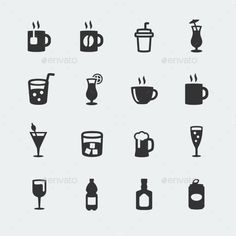 Vector Beverages Mini Icons Set (JPG Image, Vector EPS, CS, 4167x4167, alcohol, bar, beer, beverage, bottle, champagne, cocktail, coffee, cup, drink, drinking, espresso, glass, ice, icon, juice, lemon, martini, mug, pictogram, set, shake, silhouette, soda, soft, straw, tea, vector, water, wine)