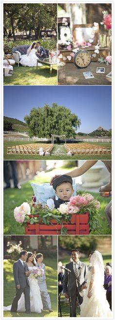 I love the idea of putting a wee little ring bearer in a red wagon with satin pillows and flowers surrounding him and pulling him down the aisle