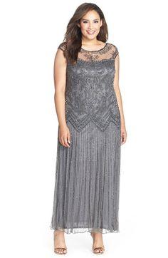 1920s Plus Size Womens Pisarro Nights Illusion Yoke Embellished Cap Sleeve Long Dress Size 18W - Grey $218.00 AT vintagedancer.com
