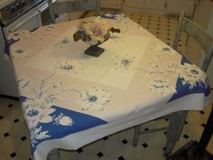 Vintage Tablecloth Dreamy Daisies & Stripes by unclebunkstrunk, $39.99