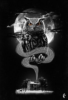 Inspiring graphics of the day - owl designs Card Tattoo Designs, Owl Tattoo Design, Owl Tattoo Drawings, Dark Art Drawings, Hannya Samurai, Realistic Owl Tattoo, Owl Artwork, Cute Fantasy Creatures, Beautiful Dark Art