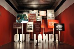 Signage - demonstrating political context for an exhibition Stand Design, Display Design, Booth Design, Design Design, Exhibition Display, Museum Exhibition, Environmental Graphics, Environmental Design, Museum Displays