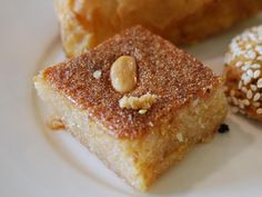 A favorite Egyptian sweet, basboosa is a semolina cake that is baked and soaked with a floral-scented syrup. Its melting sweetness goes well with a cup of hot coffee or tea. 6 to 8 servings Syrup Sugar -- 2 cups Water -- 1 1/2 cups Lemon, juice only -- 1 Orange flower water or rosewater (optional) -- 1 teaspoon Cake