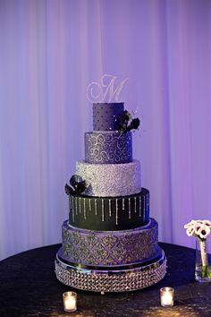 Stunning Purple, Silver & Black Cake | Kristen Weaver Photography