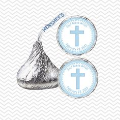 Cross Blue Baptism Christening First Holy Communion - Personalized Hershey Kiss Stickers, Hershey Kiss Labels