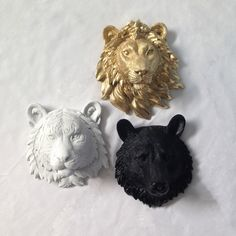 SET of 3 Faux Taxidermy ANY COLOR // Lion Head // Tiger Head // Bear Head // Fake Animal Head // Wall Decor // Safari Nursery // Zoo // Leo by KINGFOUR on Etsy https://www.etsy.com/listing/232866382/set-of-3-faux-taxidermy-any-color-lion