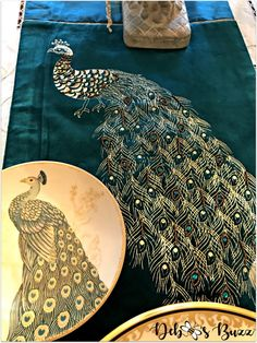 Exotic Peacock Tablescape Graces Formal Dining Room with this velvet teal table runner. Teal Table, Scandinavian Christmas Trees, Dining Room Table Decor, Peacock Decor, Thanksgiving Table Settings, Unique Flowers, Antique China, Tablescapes, Exotic