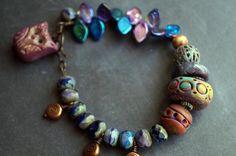 Ceramic Bracelet  Polymer Clay Jewelry   Stone by BeadSoupJewelry, $45.00