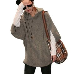 Knitting Hooded, Half Bat Wing Sleeve, Pullover Design, Stretchy Knit Top. The Model in our picture is about 5.3Ft tall. Ladies Knit Top ONLY, other accessories photographed not included. Please check your measurements to make sure the item fits before ordering.