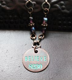 SOLD! Believe Necklace Encouragement Word Jewelry by Eleven11designs