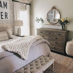 Farmhouse bedroom idea with herringbone accent wall. Spring decorating ideas for… Farmhouse bedroom idea with herringbone accent wall. Spring decorating ideas for master bedroom. Farmhouse Bedroom Decor, Country Farmhouse Decor, Home Bedroom, Modern Bedroom, Bedroom Furniture, Master Bedroom, Farmhouse Design, Modern Farmhouse, Bedroom Ideas