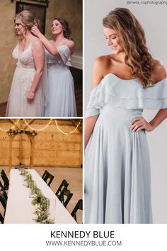 Allison is a fun convertible boho chic bridesmaid gown that is perfect for your unique bridal party. Flowy and versatile, this dress is flattering on a variety of figures and comfortable to wear all day! Available in 44 colors and sizes 00-32. Order yours online today at Kennedy Blue! | wedding ideas | bridesmaid dress inspiration | wedding inspiration | fog blue grey bridesmaid dresses | Kennedy Blue dress | rustic wedding