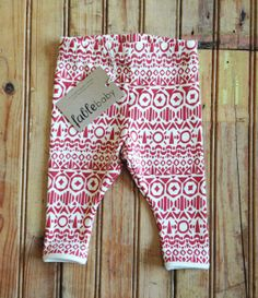 Hand+Printed+Organic+Cotton+Leggings++Red+Shapes+on+by+fablebaby,+$49.00