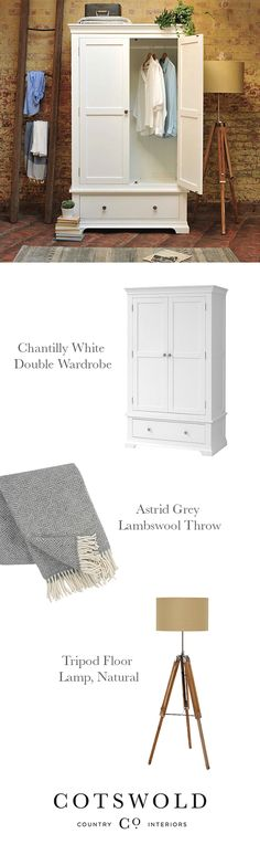 Modern Country Style Interiors from The Cotswold Company Baby Bedroom Furniture, Bedroom Lamps, Home Bedroom, Bedroom Interiors, Bedroom Decor, Bedroom Country, Bedroom Ideas, White Double Wardrobe, Bedroom Window Dressing