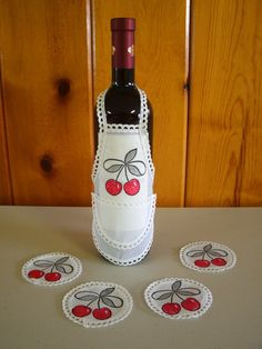 Wine Bottle Apron with Coasters - cherries design. $13.99, via Etsy.
