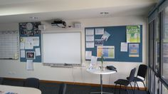 Custom Senior Staff Planning Office,  Interactive Whiteboard with overhead projector, Custom Perpetual Calendar magnetic whiteboard accompanied by 2 frameless notice boards