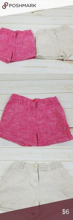 Linen/Cotton Blend Shorts, Sz 5 A bundle of two shorts in tan and red. Linen and cotton blend. Perfect for the spring/summer. Toughskins Bottoms Shorts