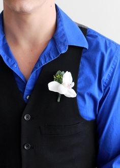 """Pack of 4 - White Orchid and Eucalyptus Boutonniere 4"""" Tall"""