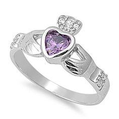 Claddagh 925 Sterling Silver 0.50 Carat Amethyst Bezel Heart Diamond Accent Promise Wedding Engagement Anniversary Fidelity Ring Love Gift