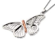 F.HINDS - Jewellery - Jewellery Brands - Clogau Gold - Clogau 9ct Rose Gold And Silver Butterfly Hinged Locket And Chain - 184848