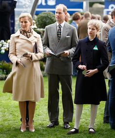 Prince Edward, Earl of Wessex and Sophie, Countess of Wessex with James Viscount Severn and Lady Louise Windsor attend the Christmas Racin...