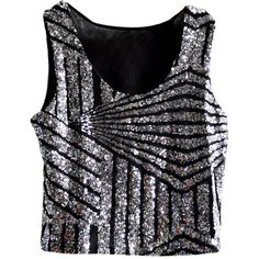 Silvery Womens Fancy Stripe Sequins Tank Crop Top ($13) ❤ liked on Polyvore featuring tops, black singlet, crop top, sequin crop top, striped crop top and black crop tank