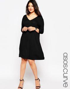 ASOS CURVE V-Front V-Back Swing Dress with Three Quarter Length Sleeves #curvyfashion #plussize #fallfashion
