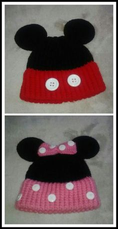 Mickey & Minnie Mouse knitted hats. I think these are a cute idea, but I'll definitely make some changes when I make one.