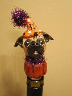 Halloween Pug Wine Stopper by WolfsFolkArt on Etsy, $20.00