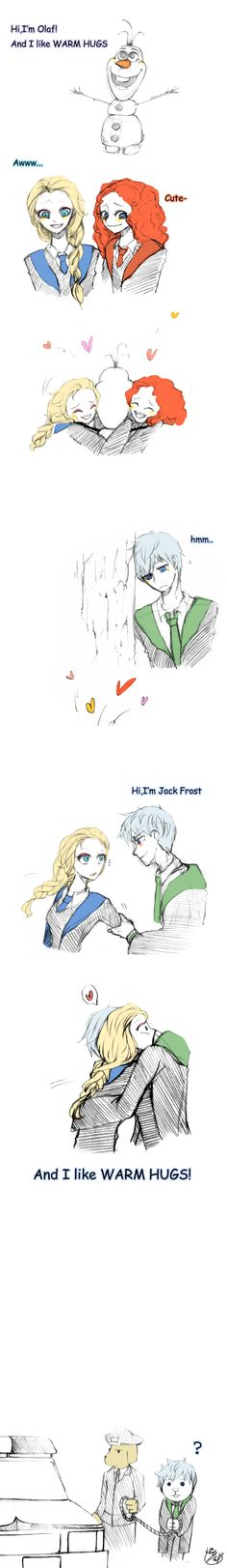 Warm hugs by Lime-Hael on deviantART | Frozen's Elsa and Olaf, Brave's Merida, and Rise of the Guardians' Jack Frost | J.K. Rowling's Harry Potter