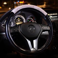 Buy Wholesale Women Diamond Crystal Car Steering Wheel Cover Rhinestone Premium Leather Car-Styling - Black White from Chinese Wholesaler Car Steering Wheel Cover, Fashion Beads, Car Accessories For Girls, Cute Cars, Car Girls, Diecast, Black And White, Leather, Bling Car