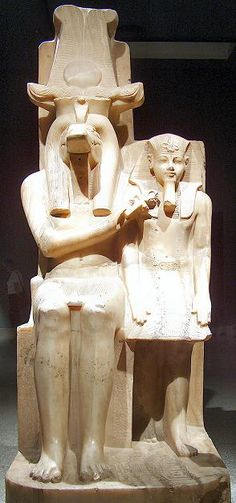 Sobek and Amenophis 3 in a beautiful alabaster statue. Found at Dahamsha. Egypt: Luxor Museum