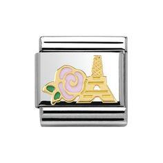 Nomination Composable Classic Madame et Monsieur rosa Rose und Eiffelturm 030285/39