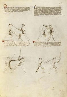 Combat with Sword Artist/Maker(s): Fiore Furlan dei Liberi da Premariacco, author [Italian, about 1340/1350 - before 1450] Date: about 1410 Medium: Tempera colors, gold leaf, silver leaf, and ink on parchment Dimensions: Leaf: 27.9 x 20.6 cm (11 x 8 1/8 in.) Object Number: 83.MR.183.27 Department: Manuscripts