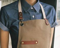 Premium Gift for woman and man Chef Works Handmade Apron Japanese Cross Back - Leaf real cow leather Apron Beige Restaurant Aprons, Restaurant Uniforms, Presents For Men, Gifts For Women, Canvas Leather, Cow Leather, Leather Craft, Chef Dress, Chef Jobs