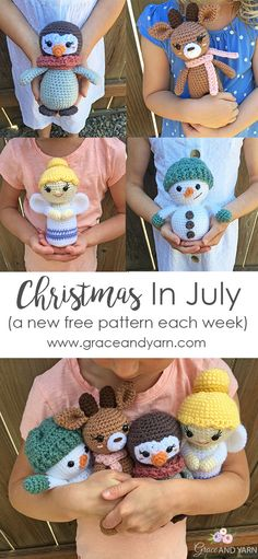 Free Crochet Christmas Patterns Join us for our annual Christmas in July event. We'll be sharing 4 new fun and free patterns perfect for stuffing those stockings, getting a head start on your Christmas gift list, or preparing for Winter craft fairs. Holiday Crochet, Crochet Gifts, Crochet Dolls, Crochet Yarn, Easy Crochet, Free Crochet, Crochet Craft Fair, Crochet Christmas Gifts, Crochet Angels